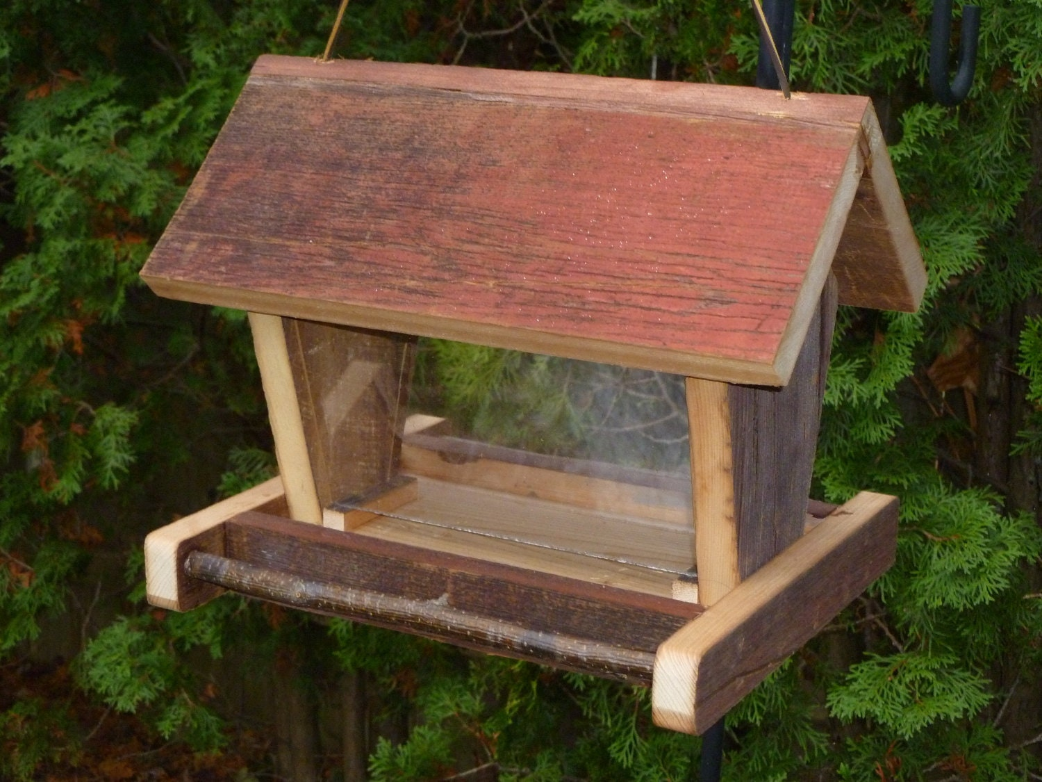 Rustic wooden barn board bird feeder