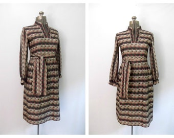 Vintage Mid Century Secretary Dress / 1960s Fitted Belted Knit Shirtdress