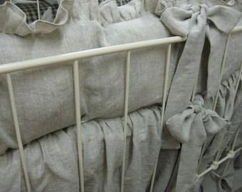 "Washed Oatmeal Linen Ruffled Crib Bedding-Medium Weight Washed Oatmeal Linen-2"" Ruffled Bumpers-Sash Ties-Storybook Crib Skirt"