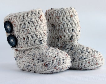 Oatmeal Wrap Crochet Boots - Choose Your Size