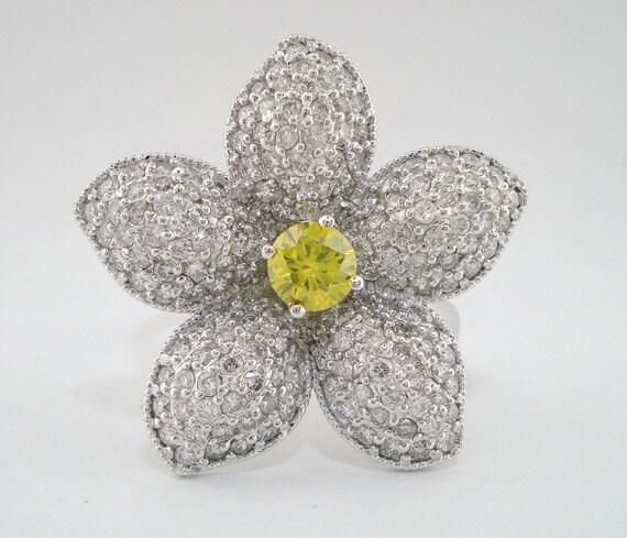 Flower Fancy Yellow Diamond Engagement Ring, Wedding Ring 2.05 Carat 14K White Gold Handmade Pave Set Unique