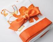Organic Elephant Baby Blanket -- Orange, Yellow and Blue -- Gender Neutral