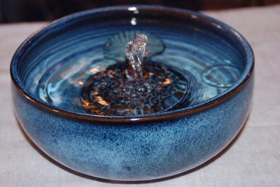 """Ceramic Cat Fountain, Handmade, Foodsafe - """"Polar"""" - 8 Plus Inch Diameter"""