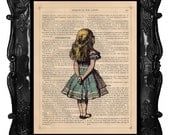 ALICE in WONDERLAND Art Print on Antique Book Page Dictionary Page ALICE art