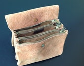Vintage Expandable Suede Leather Wallet Coin Purse by Bond Street Yugoslavia