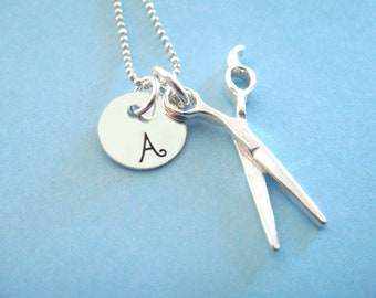 Hairdresser Necklace - Hand Stamped Jewelry - Sterling Silver Scissors Charm