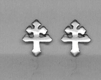 Cross of Lorraine Stud Earrings Sterling Silver Free Domestic Shipping