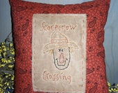 Primitive Stitchery Fall Scarecrow Crossing Pillow