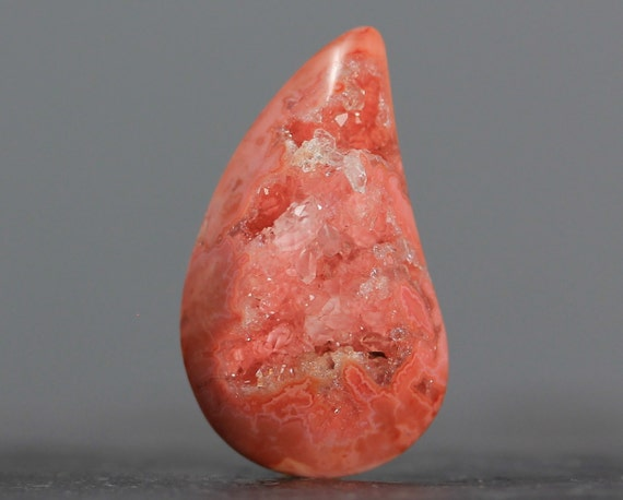 Orange Free Form Teardrop Jasper Druzy Gemstone - 35mm (3469)