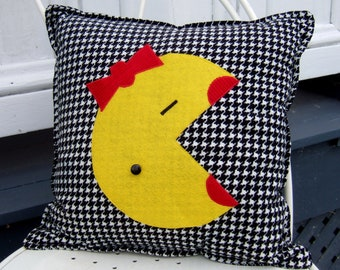 """Ms Pac- Man 14"""" decorator pillow - Free US Shipping- Made to Order"""