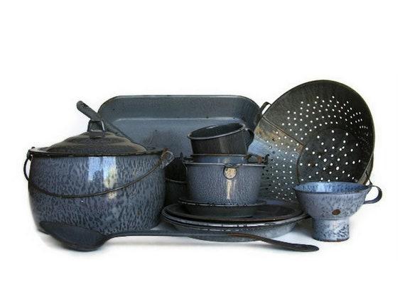 Vintage Enamelware Instant Collection Huge Lot Primitive Gray Graniteware Enamel Rustic Western Farmhouse