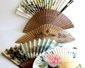Vintage Mid Century Oriental Fans. Collection of Five