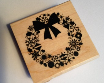 CHRISTMAS in JULY SALE Wreath Rubber Stamp from Inkadinkado  // Brand New
