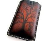 Leather iPhone 4 Sleeve Hand Dyed Sunburst with Oak Tree and Ivory Stitching