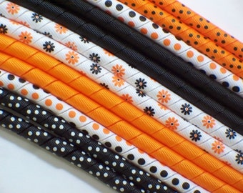 12yds--Daisy Magic--Halloween--Orange and Black---Korker Ribbon