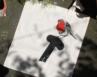Screen Printed Robin 100% Natural Cotton Tote Bag