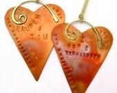 Personalized Copper Heart Ornament - 7th Anniversary