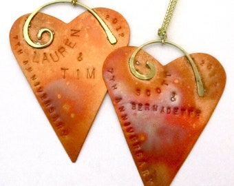 Personalized Copper Heart Ornament - 7th Anniversary