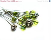 ON SALE Green Flower Decorative Sewing Pin Set of 13