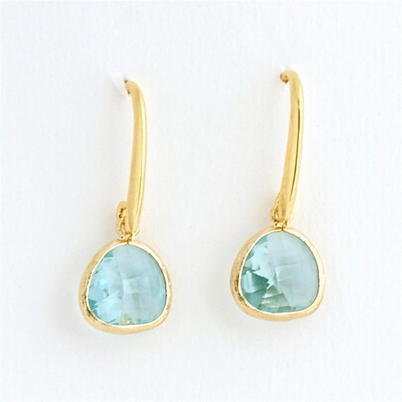WEEKLY SPECIAL 50% OFF -- Aqua Drop Earrings . faceted aquamarine glass . gold plated . handmade jewelry by MoshPoshDesigns