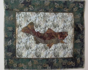 Adirondack Trout Quilt Wall hanging Hand appliqued and hand quilted