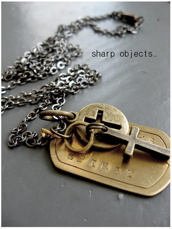 SPIRIT - men's layered antique stamped brass tag, cross & cut out ingot charm chain NECKLACE