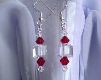Clear Crystal Cube Earrings Swarovski Siam Red Accents Dangle
