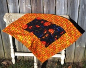 Halloween Quilted Table Runner witches hats, brooms, jack o  lanterns, pumpkins