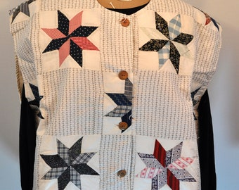 8 point star pattern Quilted Boho vest from vintage pieced Large