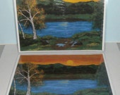Place Mats - Laminated Kitchen Placemats - Fine Art Print - Sunset River Placemats - 2 Placemats - From Original Art - Art Table Mats