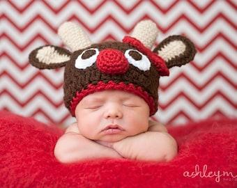 Crochet Pattern - Reindeer Hat Pattern, Rudolph
