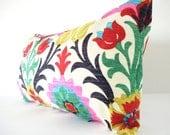 As seen in REDBOOK Mag - Bohemian Chic Decorative Designer Pillow Cover, Long Lumbar Pillow,Red Pink Dark Blue and Yellow