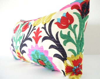 As seen in REDBOOK Mag - Bohemian Chic Decorative Designer Pillow Cover, Long Lumbar Pillow,Red Pink Dark Blue and Yellow
