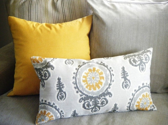 Mustard Yellow Ikat Pillow Long Bolster Pillow Decorative