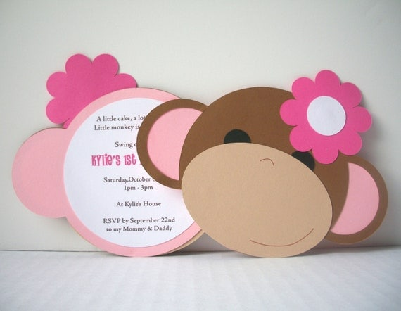 Monkey Around Invitation (Flower) - Pack of 10