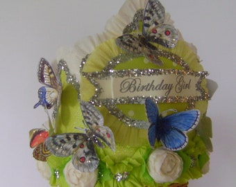 Butterfly Birthday hat, butterfly Birthday Crown, Birthday Girl hat, Garden Party Crown, Garden Party Hat, Customize