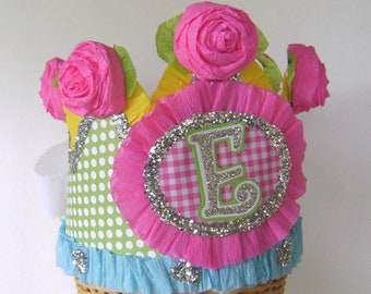 monogram Birthday Crown, party hat -  customize with any letter,number or banner