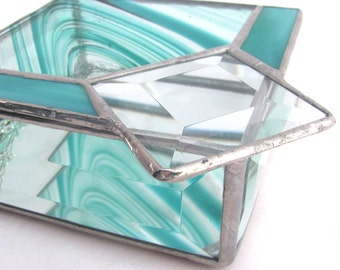 Turquoise and Clear glass Hand Crafted Stained Glass Box