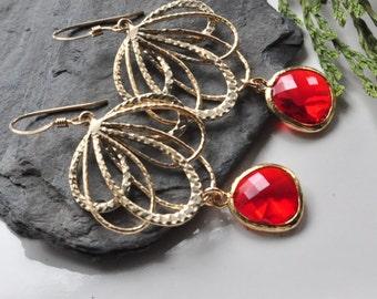 Red Dangle Glass Feather Earrings,Multilayer fan Bohemian Earrings, Casual Everyday Wear Jewelry