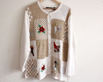 Ugly Christmas Sweater, White and Tan