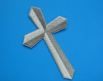 SALE~ Iron-on Embroidered Patch Cross 4 inch