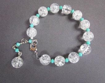 icy crackle glass and aqua - the dariela bracelet