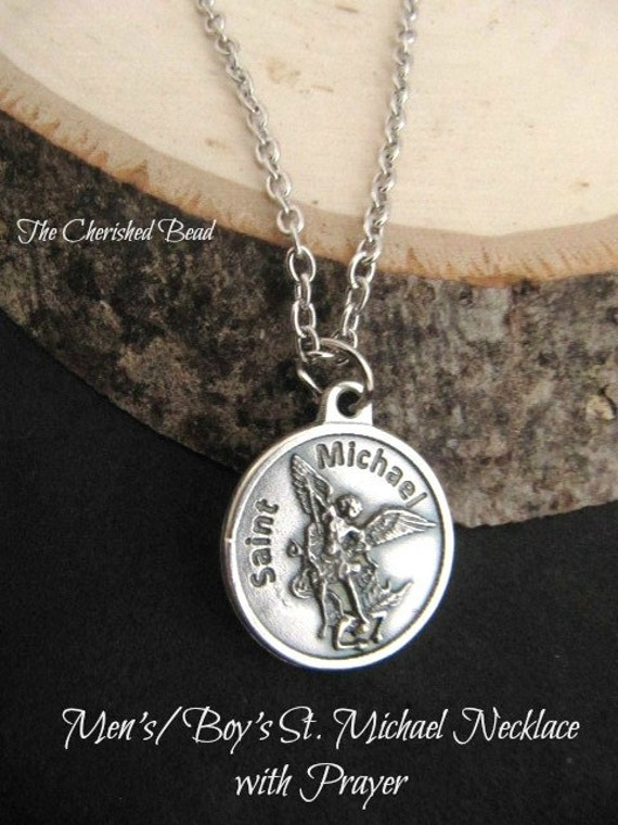 Men's/Boy's  St. Michael Prayer Charm Silver Chain Necklace with Stainless Steel Chain