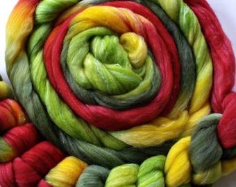 "Hand Dyed Merino/SW Merino/Tussah Silk  4 oz. ""Catrina"""
