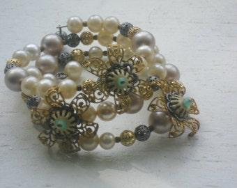 vintage filigree layered flowers wrap around bracelet-upcycled bracelet-junk gypsy-bohemian wrap bracelet