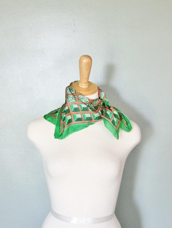10 Dollar Sale Vintage 60s CUBES Green and Orange Silk Scarf