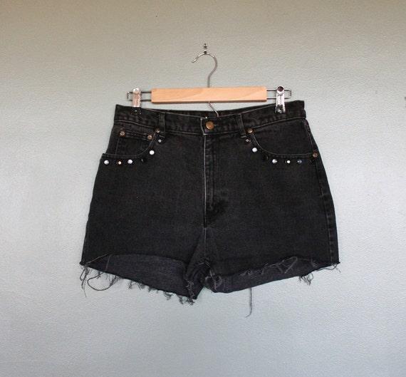 15 Dollar Sale Vintage BEJEWELED Cutoff Denim Shorts - Liz Wear - Women Medium
