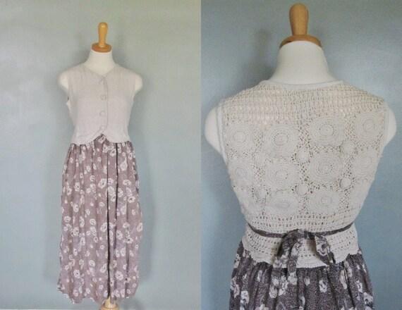 20 Dollar Sale - Vintage MACRAME Dress Floral Pattern - Women M  - Early 90s