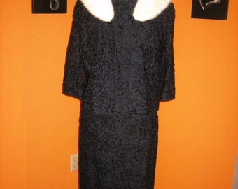 AMAZING 50s 60s Three Piece Suit with Mink Collar