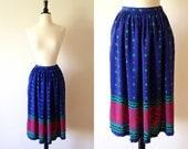 1980s blue geometric abstract ethnic print midi skirt xs